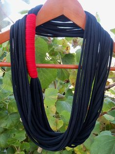 15% off with coupon code HOLLYJOLLY!!  Infinity Scarf  Black Color with Red Tie  Approx by sister9designs, $13.00