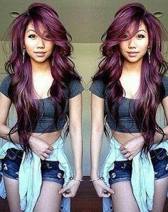medium long hair with layers and bangs