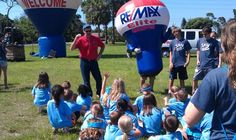 Local VBS kids learning about the Hot Air Balloon after going on a tethered ride!