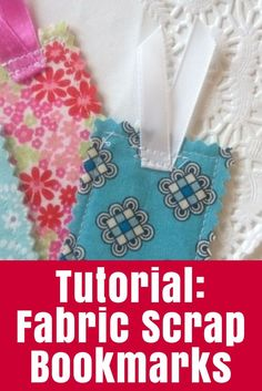 Fabric Scrap Bookmarks - Do you have lots of fabric scraps? See how I combined a bunch of fabric strips and leftover interfacing to create Fabric Scrap Bookmarks. Scrap Fabric Projects, Diy Sewing Projects, Sewing Projects For Beginners, Sewing Hacks, Fabric Crafts, Sewing Crafts, Sewing Tips, Free Sewing, Craft Tutorials