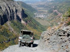 1986 Land Rover Defender 110. coming down black bear overlooking telluride