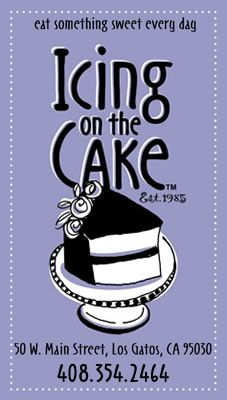 Icing on the Cake - 50 W Main St, Los Gatos, California 95030. Tue-Sat 9am-6pm, Sun 9am-4pm, closed Mon.   Offers vegan cupcakes (pumpkin, banana, chocolate, and brownie) which rotate). Also has vegan chocolate chip cookies daily. Banana cake can be made vegan, along with other items, with advance notice. Has gluten free options.
