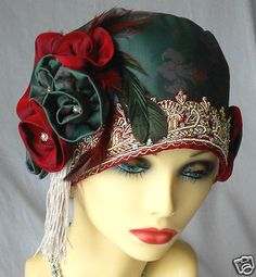 1920s Vintage Inspired Sage Green Red Turban Cloche Hat Flapper. @Deidra Brocké Wallace