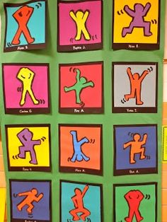 keith harring Bulletin Board Ideas | do a keith haring lesson using outlines and side walk chalk