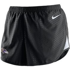 Nike Baltimore Ravens Nfl Women's Mod Tempo Shorts ($40) ❤ liked on Polyvore featuring activewear, activewear shorts, black, logo sportswear, nike sportswear, nike activewear and nike