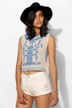Chelsea Flower Cross-Stich Cropped Top