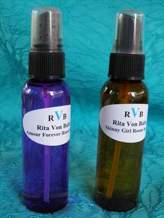 Aromatherapy room sprays; Skinny Girl for weight loss and Amour Forever for romance.