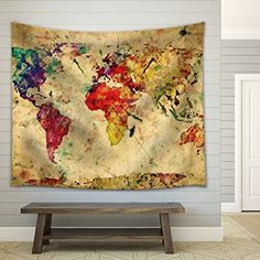 Wall26® A Map of the World in Water Colors on a Vintage Background - Fabric Tapestry, Home Decor - 51x60 inches