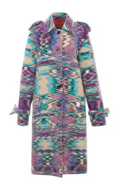 Lilac Marbled Knit Alpaca Wool Coat by MISSONI for Preorder on Moda Operandi