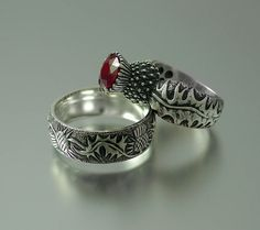 BLOOMING THISTLE ring with Ruby. $225.00, via Etsy.