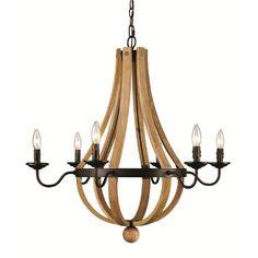 Luminaire suspendu en bois couleur naturel avec métal bronze.