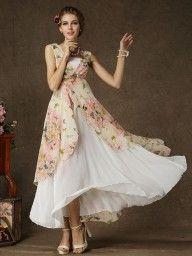Yellow Ruffle Floral Print Maxi Dress | Choies