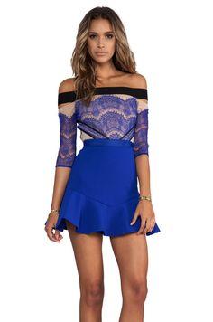 Three Floor Kloss Up Dress in Nude/Black/Cobalt Blue