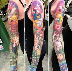Completed Studio Ghibli Sleeve by Ashley Newman (Ashleyluka) - Brass Heart - Birmingham, UK Badass Sleeve Tattoos, Full Sleeve Tattoos, Sleeve Tattoos For Women, Tattoos For Guys, Studio Ghibli Tattoo, Tattoo Studio, Anime Tattoos, Body Art Tattoos, Totoro