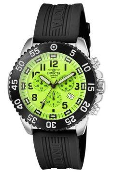 Invicta Men's 1104 Pro Diver Chronograph Green Dial Black Rubber Watch - http://physicalfitnessshop.com/shop/invicta-mens-1104-pro-diver-chronograph-green-dial-black-rubber-watch/ http://physicalfitnessshop.com/wp-content/uploads/2017/02/19e7664115ff.jpg