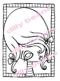 Dilly Beans Stamps: #181- Big eye girl framed $3.00