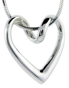 """Flawless Sterling Silver Floating Heart, 13/16"""" X 13/16"""""""