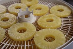 how to dehydrate pineapple. Can use fresh pineapple slices dipped in honey, honey optional. Canned Pineapple, Dried Pineapple, Pineapple Slices, Dehydrated Vegetables, Dehydrated Food Recipes, Dehydrated Apples, Veggies, Canned Food Storage, Sweets
