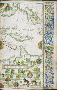 Map of the West Indies, including the coastlines of Peru, Cuba and Florida; from the Rotz Atlas, France and England (London), ca.1535-1542 | Royal MS 20 E. ix, f. 24r