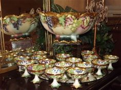 Tremendous Limoges Footed Grape Filled Punch Bowl with 16 Matching Cups and Tray