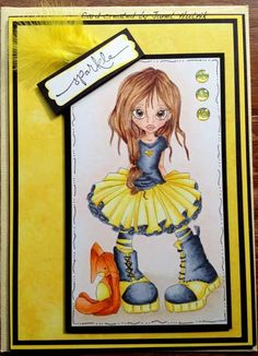 She's colored with Copic Markers.    Skin:  R20, E11, E00               Hair:  E29, E25, E35, E51      Tutu/Yellows:  Y15, Y13, Y11, Y000           T-shirt, boots:  C8, C6, C4, C2  Bunny:  Y15, Y13, Y11, Y000, YR18, YR15, YR12, YR02  Background:  YR0000, E42, E41, E40