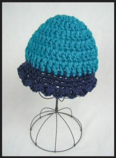 Two Tone Teal Tulip Beanie Hat size small by LadyLorienDesigns