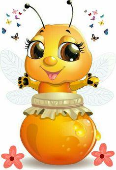 Cute bee with honey Jar vector 01 Cartoon Bee, Cute Cartoon, Cartoon Brain, Batman Cartoon, Lach Smiley, Bee Clipart, Bee Pictures, Cute Bee, Bee Art