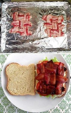 BLT bacon weave I will never cook bacon ON the stove again! Bake IN the oven at 350 for about 25-30 mins!