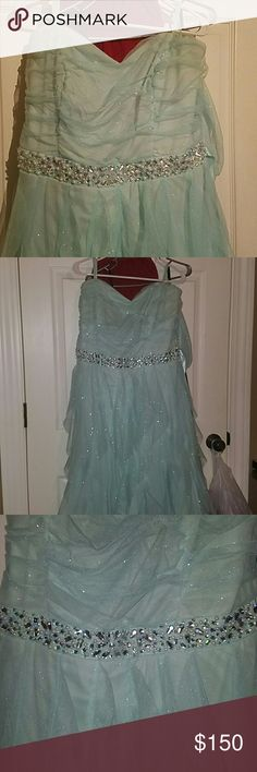 Prom/ Special occasion dress It is a seafoam green/blue dress long strapless sparkles all over Teeze Me Dresses Strapless