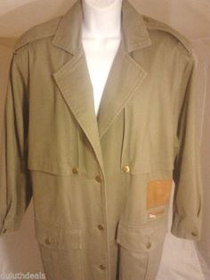 Together Safari Trench Coat Missy Size 10, Green