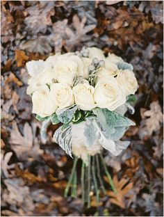 Winter bouquet with white roses.