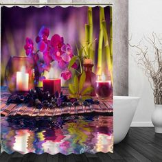 Zen Spa Stone And Candles Waterproof Polyester Shower Curtains – Floessence