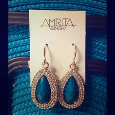 """HP#15Teal resin & crystal earrings Host Pick for Best in Jewelry & Accessories 01.17.2016 AMRITA SINGH gold-tone with teal blue faceted center stone surrounded by two rows of crystals.  Never worn.  NWOT.  Length from top of french wire is 1 3/4"""".  Thank you for looking!  Bundle 2+ listings for 20% discount.  (11.08.15.30) Amrita Singh Jewelry Earrings"""