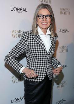 Diane Keaton wearing a checkered print blazer
