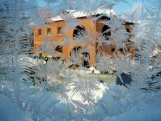Frost Patterns on Window by Victor Kovchin.Belongs to the Gallery Russian Artists New Wave.Exquisite natural patterns of frost on the glass window with yellow house behind. Art Prints For Home, Patterns In Nature, Frost, Wave, Windows, Artists, Gallery, Painting, Beautiful