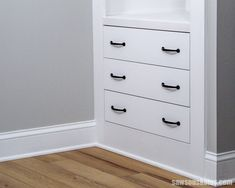 The DIY drawers are beautiful and so easy to build! #sawsonskates Diy Furniture Drawers, Diy Drawers, Cabinet Drawers, Drawer Hardware, Drawer Fronts, Building Drawers, Outdoor Furniture Plans, Workbench Plans, Diy Wood Projects
