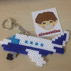 Airplane keychain perler beads by clementinainventa