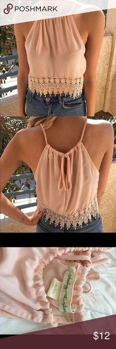 Urban Outfitters crop top Dressy light pink lacy Urban Outfitters crop top. Only worn once! Urban Outfitters Tops Crop Tops