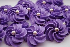 Sparkling Purple Royal Icing Flowers Modern by cupcakesbychristy, $12.00