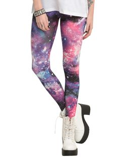 Blue And Pink Galaxy Leggings | Hot Topic