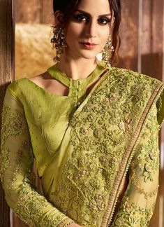Neon Green With Multi Embroidered Pallu Traditional Saree - innoke. Saree Blouse Neck Designs, Sari Blouse Designs, Fancy Blouse Designs, Dress Neck Designs, Blouse Patterns, Blouse Styles, Neck Designs For Suits, Stylish Blouse Design, Traditional Sarees