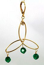 Celtic Triangle Jewelry Wire & Beads Earrings Jewelry Making Project with Emerald Beads