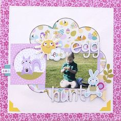 Bella Blvd Sweet Sweet Spring collection. Egg Hunt layout by creative team member Jennie McGarvey.