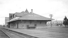 C.P.R.Station, photo looking North towards the old Legion Building on the West end of Ross St 1940 Red Deer, AB