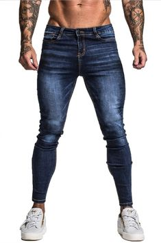 Maison Non Ripped Spray On Jeans - Dark Blue Skinny Fit Stretch Denim Blue Skinny Jeans Zipper Closure High Waist Machine Wash Cotton, Elastane Model: wearing size 32 Skinny Chinos, Blue Skinny Jeans, Blue Jeans, Lässigen Jeans, Casual Jeans, Jeans Leggings, Slim Fit Ripped Jeans, Spray On Jeans, Dark Blue Pants