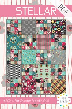 """A fat quarter friendly throw quilt. Let the prints shine in this quilt free of borders and sashing. Featuring my Nordika fabric collection for Art Gallery Fabrics. Suitable for comfortable beginners.This mini pattern is quick and simple, and can be printed on a single sheet on paper.Quilt finishes at 64""""x80""""<b>Fabric Requirements:</b>- 20 fat quarters of print fabric- 2 yards of 90"""" wide batting- 5 yards of backing fabric- 5/8 yard of binding fabric..."""