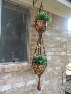 Macrame Plant Hanger DOUBLE Almond Handmade with by Carolecreate
