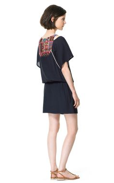EMBROIDERED BIB FRONT DRESS - Dresses - Woman - ZARA Canada