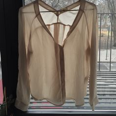 Cream silence and noise silk shirt Silence and noise blouse with v-neck and back. Button up. Cream colored. Size XS silence + noise Tops Blouses