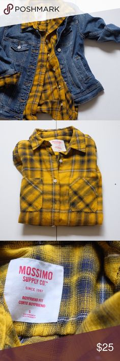 Yellow & black plaid flannel Yellow & black plaid flannel. Warm, basically new flannel. NOT URBAN OUTFITTERS TAGGED FOR EXPOSURE. Flannel is similar to first photo but does not match it entirely. All other pics are the actual flannel and color is represented through those pics. Urban Outfitters Tops Tees - Long Sleeve